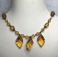 1920s Glass Necklace 1930s Faux Citrine Wired Jewellery Jewelry Vintage Retro