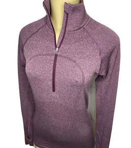 Lululemon Run Swiftly Tech 1/2 Zip Pullover Top Thumb Holes Heather Purple Sz 6