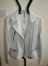 NWT TOPSHOP Real Leather Ivory Women Biker Jacket with double zip. Size 12(£185)