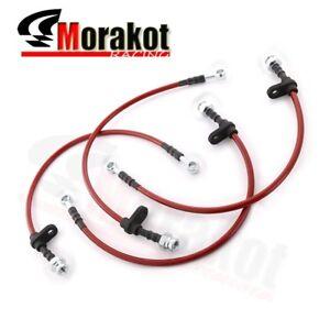 96-00 Honda Civic EK Front Rear Stainless Steel Braided Oil Brake Line Red/Black