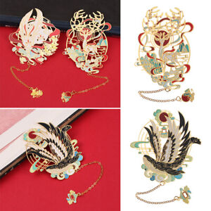 Chinese style Retro Metal Book Clip Pagination Mark Brass Bookmark Painted
