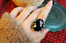 Vintage Bronze Plated Retro Black Stone Fashion Big Ring For Men And Women Jewel