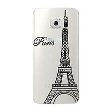 Coque gel souple incassable motif fantaisie pour Galaxy S6 EDGE  (Tour Eiffel N)