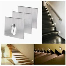 2/4/6/10pcs 1W LED Recessed Wall Step Light Stair Lamp Warm/White Porch Pathway