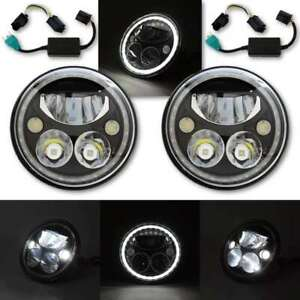 "7"" Black Chrome Face LED 6000k 6k Octane Headlight w/ White Halo Light Pair"