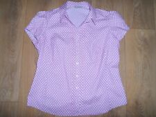 MARKS AND SPENCER PURPLE SPOTTED BLOUSE WITH STRETCH SIZE 14