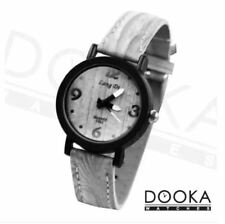 DOOKA Lang Di Unisex Grey Oak Wood Design Leather Strap Watch WD889