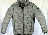 Guess Mens Hooded Gray Camo Puffer Full-Zip Winter Jacket/Coat Size Small