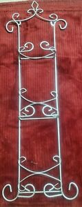 """TRIPLE PLATE HOLDER METAL 24"""" X 6"""" WALL HANGING SILVER GREY"""