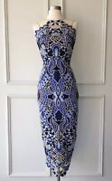 thurley : festival embroidered midi dress blue size: 6 -NEW- $799