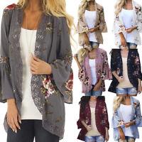 Fashion Women Lace Floral Open Cape Casual Coat Blouse kimono Jacket Cardigan US