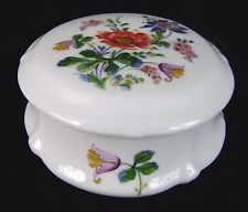 """Leclair LEC Limoges France Round Porcelain Floral Covered Trinket Jewelry Box 5"""""""