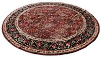 Vintage Machine-Loomed 10ft Diameter Wool Area Rug