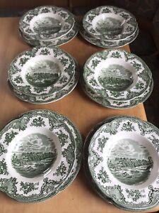 Johnson Bros Old Britain Castles grün je 6 flache und 6 tiefe Teller