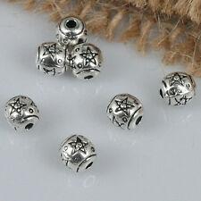 40pcs tibetan silver tone 5mm star patterns spacer beads H1934