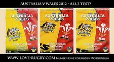 S - Australia v Wales 2012 - ALL 3 Tests x 3 rugby prgrammes (not tickets) e