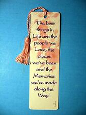 """The Best Things In Life Are""  Poem on a Tassel Bookmark (pink tassel)-Sku# 717"