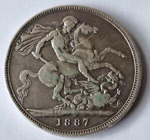 1887 Queen Victoria Jubilee Head Silver Crown Coin