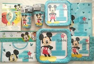 MICKEY MOUSE Fun To Be One 1st Birthday Party Supply SUPER Kit w/Bib & Balloons