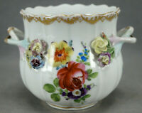 Dresden Carl Thieme Hand Painted Flowers Floral Encrusted & Gold Cache Pot A