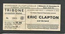 Original 1974 Eric Clapton Unused Concert Ticket Munich 461 Ocean Boulevard Tour