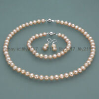 New 7-8mm Real Natural Pink Freshwater Pearl Necklace Bracelet Earrings set