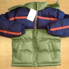 boys puffer jacket,navy/olive,detach.hood,age 4yrs