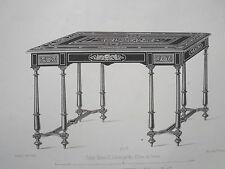 Table HENRI II huit pieds Ebéne GRAVURE le MAGASIN dE MEUBLES V.QUETIN XIXéme