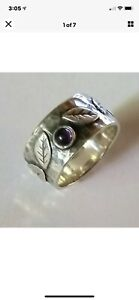 Silpada Sterling Silver Amethyst, Leafy Hammered Band Size 6 Ring