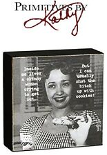 """Primatives By Kathy Trash Talk by Annie 4""""x4"""" Wooden Sign - Skinny Woman Novelty"""