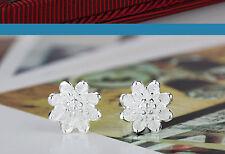 925 Sterling Silver Women Jewelry Cute Flower Elegant Crystal Ear Stud Earrings