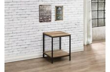 Rustic Industrial Chic Lamp Table With Metal Frame And Wood Finish