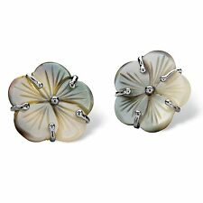 PalmBeach Jewelry Freshwater Black Mother-of-Pearl Button Silvertone Earrings