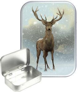 Deer Snow Small Silver Hinged Gift Tin, 30ml Hinged Tobacco Tin, Craft Tin
