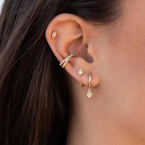 Huggie Drop Earrings geometric rhombus CZ gold silver dainty tiny minimalist