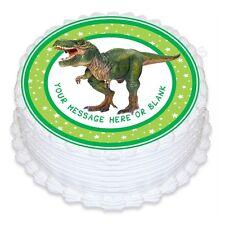 ND3 T-REX DINOSAURO COMPLEANNO PERSONALIZZATA ROUND CAKE TOPPER commestibile glassa