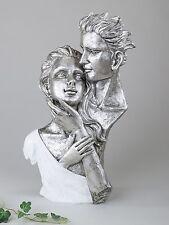 Exklusive Deko Büste Skulptur Liebespaar aus Keramik weiß/silber Höhe 40 cm