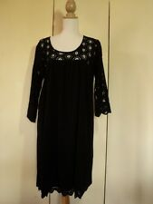 piper woman black stretch cotton  linen and devore lace dress tunic 18