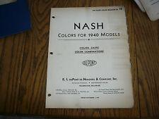 1940 Nash DuPont Dulux Color Chip Paint Sample - Vintage