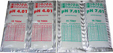 4 x HANNA PH CALIBRATION BUFFER SOLUTION SACHETS  2 x 4.01 pH AND 2 x 7.01pH