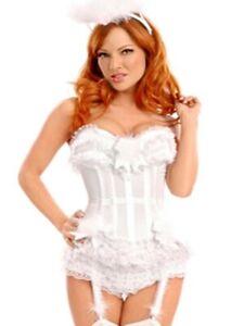 Wunderschöne Satin-Korsage + Panty weiß (003) Corsage Burlesque Hochzeit weiss