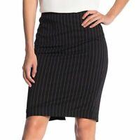 T Tahari Women's Size 6 Pinstripe Pencil Skirt Black Knee Length Black Career