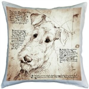 """Airedale Throw Pillow Gorgeous 17"""" x 17"""" with Zippered Washable Cover"""