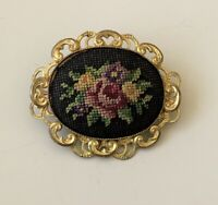 Unique vintage needlepoint flower brooch gold tone metal