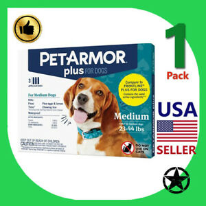 1 Pack PETARMOR Plus Flea and Tick Prevention for Medium Dogs 23-44 lbs 3 Ap