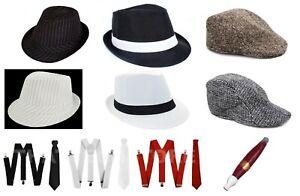 Mens 1920s Gangster Costume Set Hat Suspenders Tie & Cigar 20s Gatsby Mafia