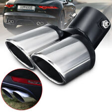 Universal 63mm Curved Dual-Outlet Exhaust Trim Muffler Tail Pipe Tips Chrome