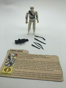 GI JOE 1984 STORM SHADOW WHITE COBRA NINJA 100% COMPLETE & FILE CARD TGHT Read