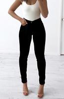 WAKEE BLACK CORDUROY HIGH RISE SKINNY LEG JEANS. SIZE 6-16