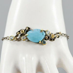 Fine Art Turquoise Bracelet 925 Sterling Silver  Inches 8.25/BR04982
